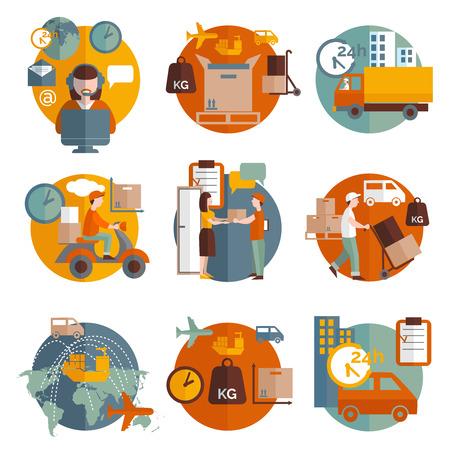 icone tonde: Logistica concetto con la consegna di trasporto e le persone intorno set di icone piatto isolato illustrazione vettoriale