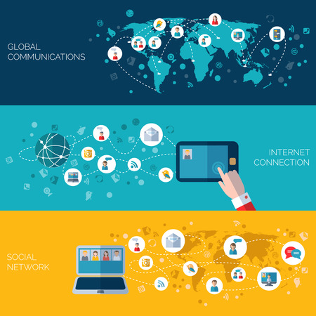 world connect: Internet communication and social networks horizontal banners set flat isolated vector illustration