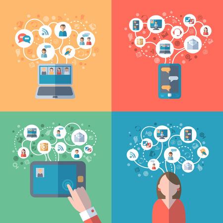 Internet en sociale netwerken online communicatie conceptenpictogrammen geplaatst vlak geïsoleerde vectorillustratie Stock Illustratie
