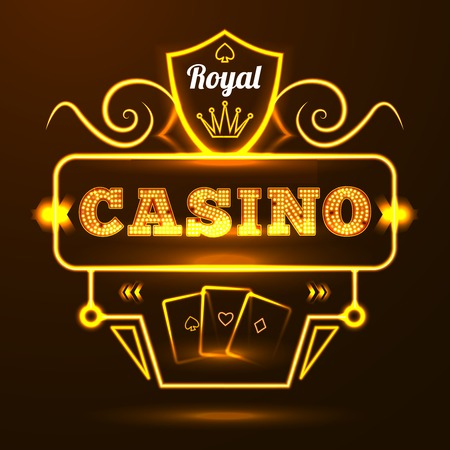 crown of light: Gold neon light illuminated sign casino entrance with cards and crown elements vector illustration