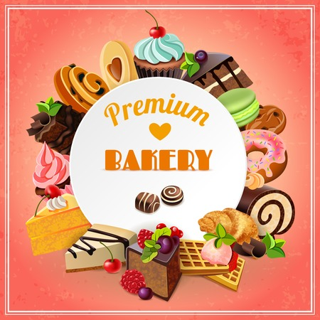 macaron: Premium bakery promo poster with different sweets cakes and pastry vector illustration