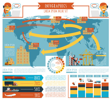 Worldwide  cargo  transportation and 24h delivery service logistic concept schemas infographic report poster abstract flat vector illustration
