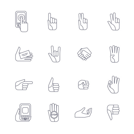 body language: Body language hand gestures icons collection set for like dislike symbols outlined contour abstract isolated vector illustration Illustration