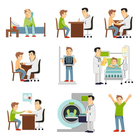 visit: consulting practitioner doctor and patient in hospital set flat decorative icons isolated vector illustration