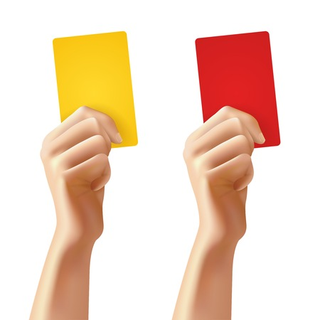 foul: Realistic human hands holding red and yellow foul soccer cards isolated vector illustration