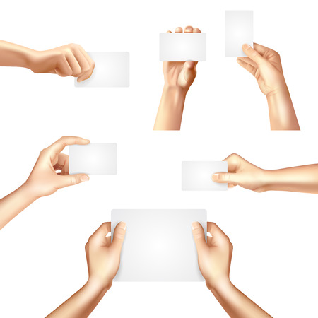 Hands holding white blank templates set for business identification cards samples promotion advertisement banner abstract vector illustration Illustration
