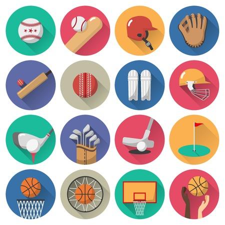 Sport icons platte set met voetbal golf basketbal ballen en apparatuur geïsoleerd vector illustratie