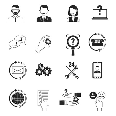 assist: Support icons black set customer question answer service isolated vector illustration