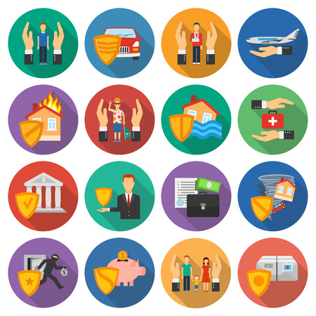 Versicherungs- und Risikofällen Icons Set flache runde Schatten auf weißem Hintergrund Flach isolierten Vektor-Illustration Vektorgrafik