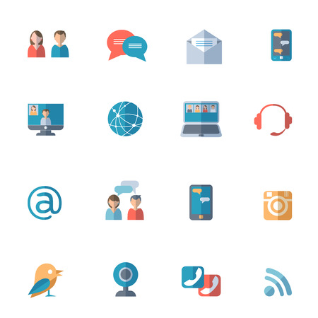 business design: Social networks with computer laptop and smartphone icons set flat isolated vector illustration