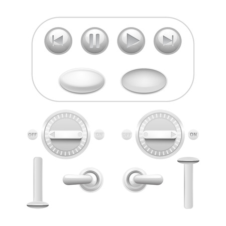 trigger: Realistic analog button and trigger set white isolated vector illustration
