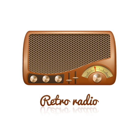 tuner: Brown retro classic radio with speaker and sound tuner isolated on white background vector illustration Illustration