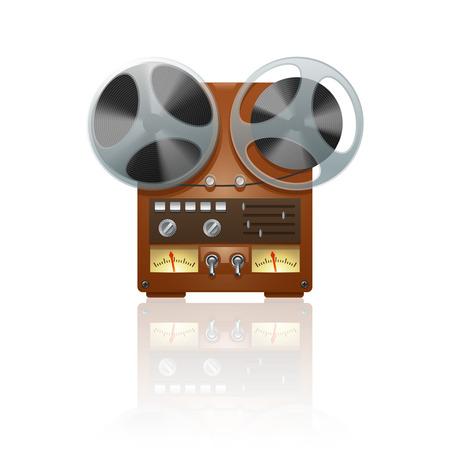 tape recorder: Icono nostálgico vendimia cinta de bobina grabador reproductor dispositivo de imprimir con espejo reflexión abstracta ilustración vectorial