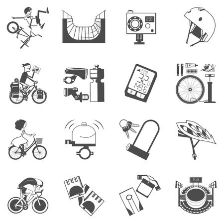 biking glove: Mountain extreme track sport bikes and city roads cycling accessories black icons collection abstract vector isolated illustration Illustration