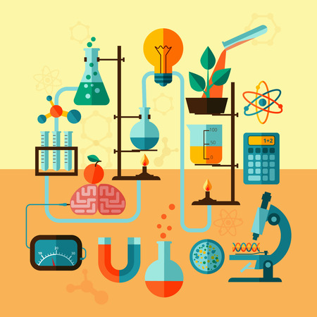 test equipment: Scientific research biological chemistry laboratory equipment with calculator atom symbol and microscope poster flat abstract vector illustration Illustration