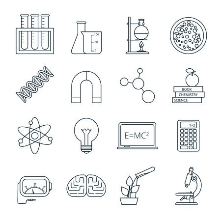 outlined isolated: Biology chemistry experimental science lab research outlined icons set with molecule atom model abstract isolated vector illustration Illustration