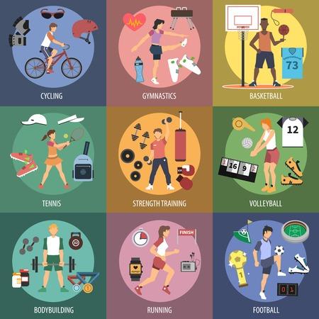 Sport mensen ontwerpconcepten set met geïsoleerde fietsen turnen basketbal vlakke pictogrammen vector illustratie