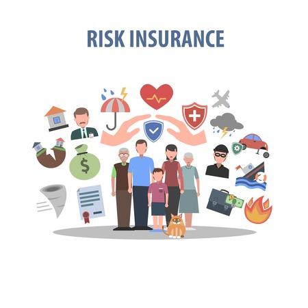 Concepto de seguro con manos humanas y símbolos de protección contra accidentes ilustración vectorial plana