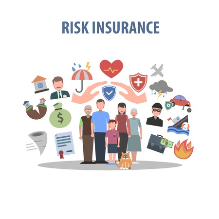 health risks: Insurance concept with human hands and accident protection symbols flat vector illustration