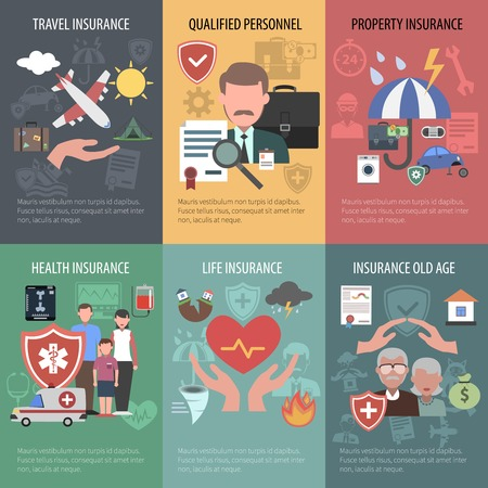 properties: Insurance mini poster set with travel property old people health protection isolated vector illustration Illustration