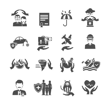 storm damage: Insurance icons black set with family health property and finance protection symbols isolated vector illustration