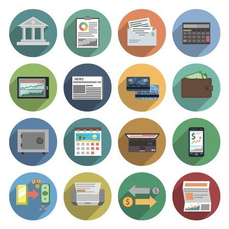 salarios: Iconos Banco conjunto plana con atm cheque finanzas comercio de dinero ilustración vectorial
