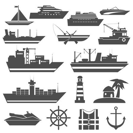 barca da pesca: Icona della nave nero set con carico vela navi da crociera isolato illustrazione vettoriale