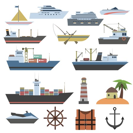 fishing boats: Ships and sailing vessels flat decorative icons set with marine symbols isolated vector illustration