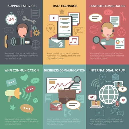 Chat mini poster set with support service data exchange customer consultation isolated vector illustration
