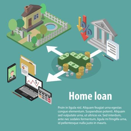 Crédito y préstamo para la vivienda del Banco concepto con casa isométrica e iconos financieros ilustración vectorial