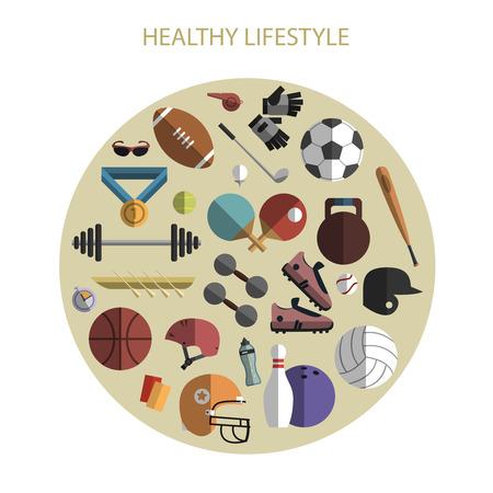 deportes colectivos: Estilo saludable equipos y accesorios deportivos vida iconos planos impresi�n del cartel del c�rculo composici�n abstracta ilustraci�n vectorial