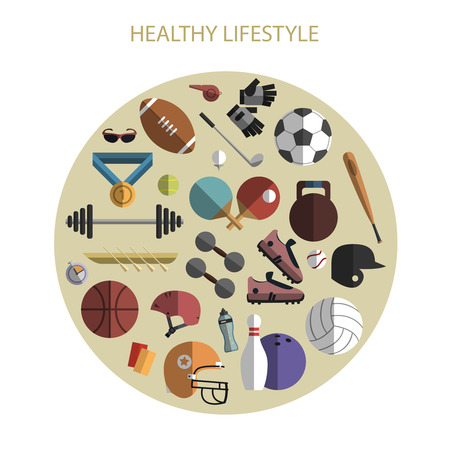 sports equipment: Healthy life style sport equipment and accessories flat icons composition circle print poster abstract vector illustration