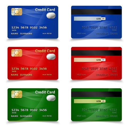 Plastic bank credit card set in red blue and green design realistic isolated vector illustration