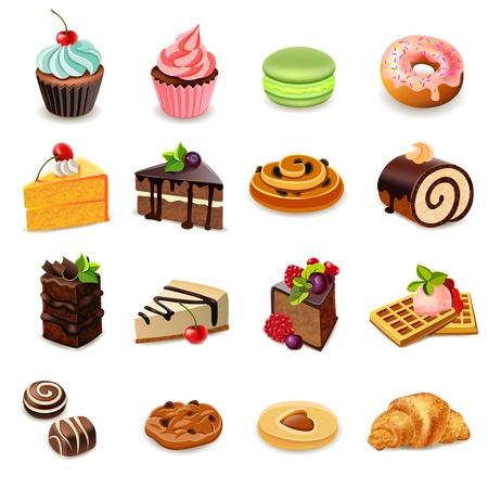 magdalenas: Tartas y dulces iconos decorativos creados con galletas de donuts magdalena de ilustraci�n vectorial aislado