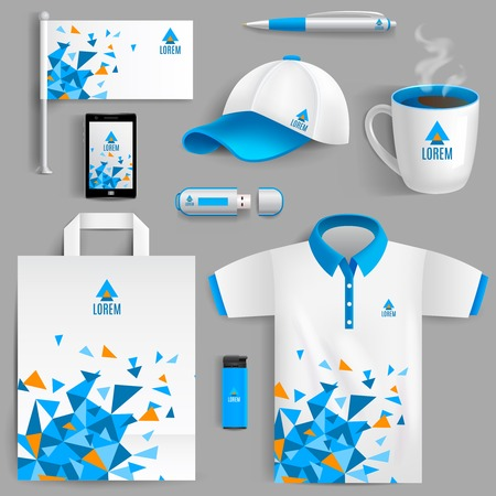 paper and pen: Corporate identity ad objects in blue abstract geometric design isolated vector illustration