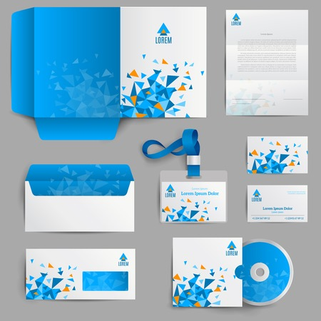 Corporate identity stationery in blue abstract design set isolated vector illustration Ilustração