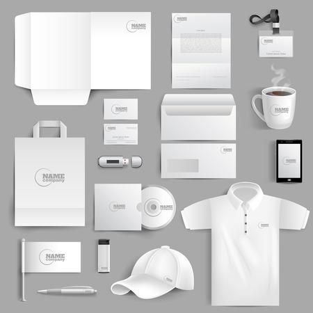 Blanc identité d'entreprise de papeterie sertie de gobelets et de visite cartes légers réalistes isolé illustration vectorielle Banque d'images - 40458890
