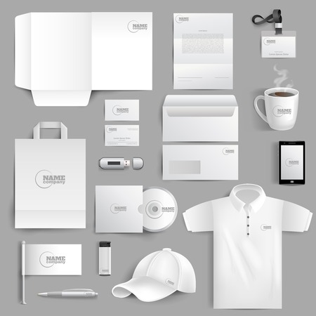 White corporate identity stationery set with realistic lighter cup and visit cards isolated vector illustration Stock Illustratie