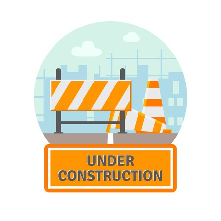 Website improvement under construction flat icon with traffic barrier and cone vector illustration Illustration