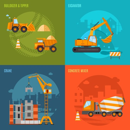 Construction machines design concept set with bulldozer tipper excavator and concrete mixer flat icons isolated vector illustration