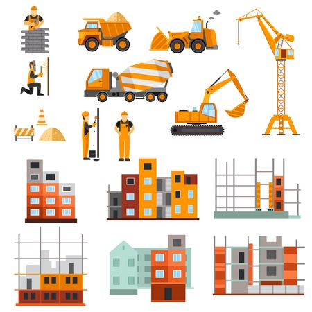 aanbouw huis: Bouwmachines bouwers en huis bouwproces decoratieve pictogrammen flat set geïsoleerd vector illustratie Stock Illustratie