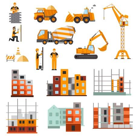camion grua: Proceso de construcción de máquinas constructores y la construcción de viviendas iconos decorativos plana conjunto aislado ilustración vectorial