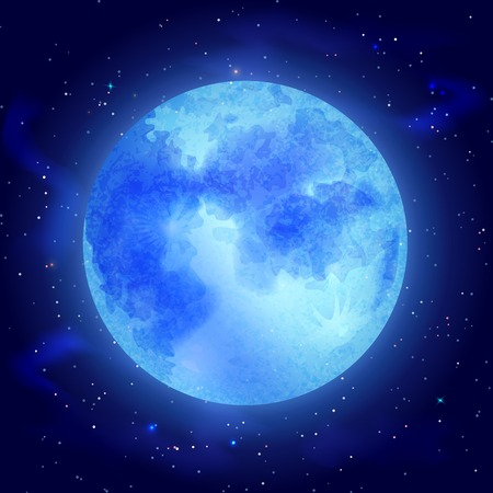 Big glowing moon with stars on dark cosmos background vector illustration Vector