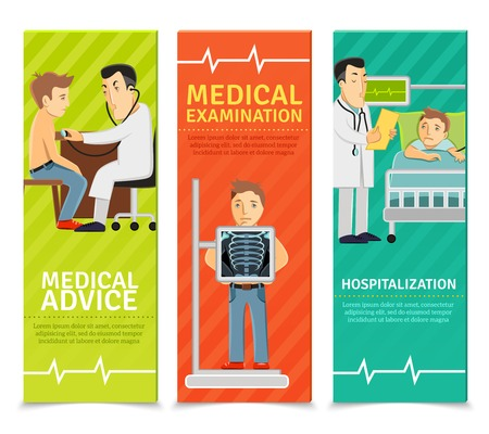 hospitalisation: Examen m�dical banni�res verticales d�finissent avec des �l�ments des conseils d'examen d'hospitalisation isol� illustration vectorielle Illustration
