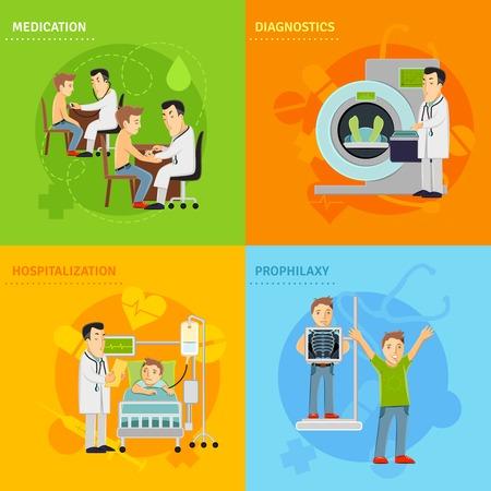 hospitalisation: concept de traitement de l'H�pital r�gl� avec diagnostic de prophylaxie m�dicaments hospitalisation ic�nes plates isol� illustration vectorielle