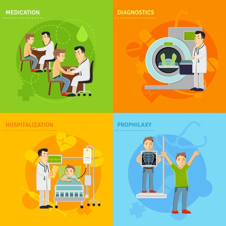 doctor and patient: Hospital treatment design concept set with prophylaxy diagnostics medication hospitalization flat icons isolated vector illustration