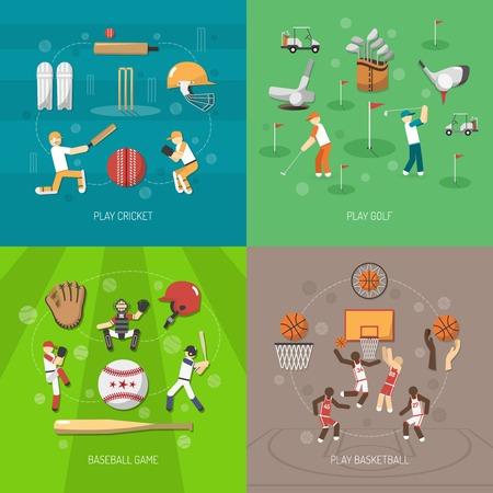 pelota beisbol: Deporte concepto de diseño conjunto con el béisbol del golf y el cricket juego de baloncesto iconos planos aislados ilustración vectorial