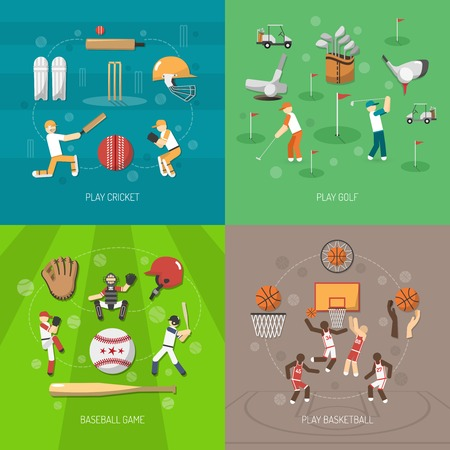 cricket ball: Sport design concept set with cricket golf baseball and basketball game flat icons isolated vector illustration