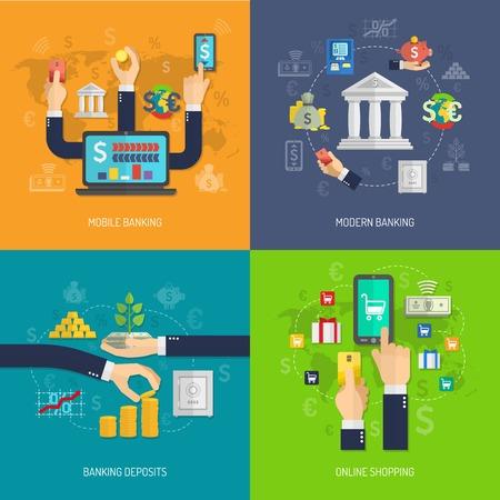 Banking concept set met mobiele storting en online winkelen vlakke pictogrammen geïsoleerd vector illustratie