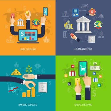 commerce and industry: Banking design concept set with mobile deposit and online shopping flat icons isolated vector illustration